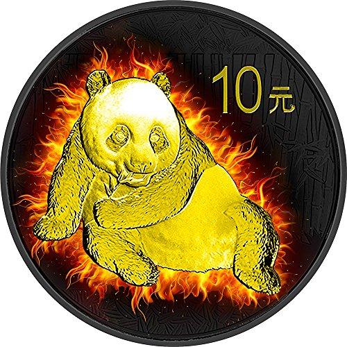 2015 CN gilded enigma BURNING PANDA Fire Black Ruthenium Gold 1 Oz Silver Coin 10 Yuan China 2015 Dollar Perfect Uncirculated