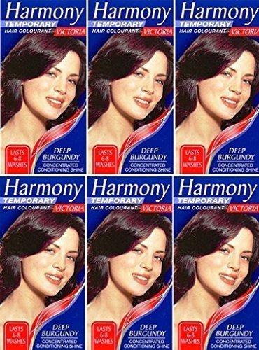 six paquets de harmony coloration cheveux victoria profond bordeaux 17ml - Coloration Cheveux 61
