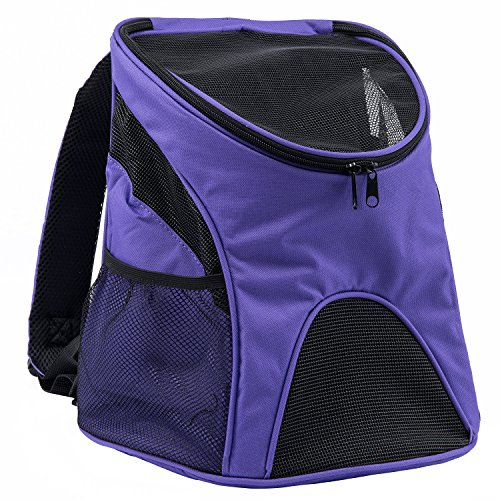Pettom Cat Dog Pet Carrier / Mesh Pup Pack / Soft-sided Outdoor Travel Backpack for Pet (Large , Purple)