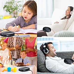 Portable CD Player Small CD Player for Car Portable High Resolution Lossless CD Discman Compact Disc Personal Walkman Player Shockproof Anti-Skip with Aux Cable in-line Control (Color: Black)
