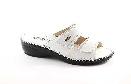 FLORANCE 22590 Blanc pantoufles chaussures de femme de la peau confort déchirer