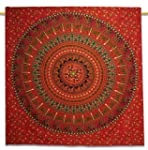 Coton Bohemian Tapisserie Red Wall Be...