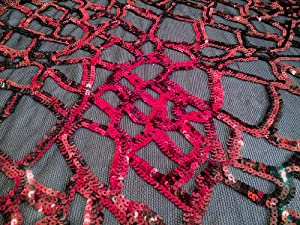 Natalie Hot Pink Sequins on Black Mesh 58/60 Inch Fabric By the Yard (F.E.®)