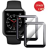 for Apple Watch 42mm Series 3/2/1 Smartwatch Screen Protector - Max Coverage 3D Curved Tempered Glass Film [9H Hardness+Crystal Clear+Scratch Resist+No-Bubble+Strong adsorption](42mm-2 Pack)-Upgraded (Color: Black-42mm, Tamaño: 42 mm)