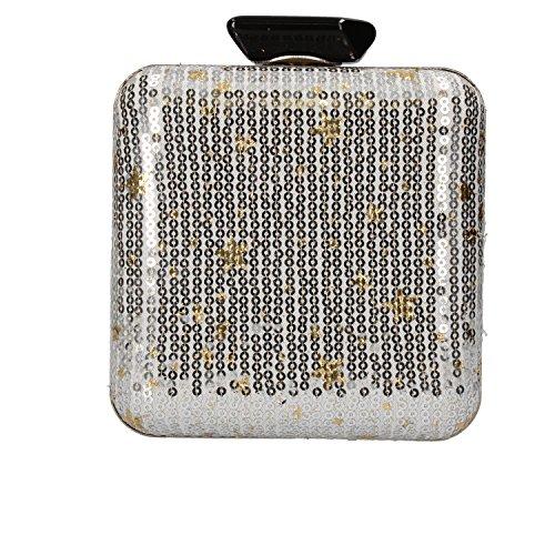 NALì pochette borsa a mano donna bianco paillettes argento tessuto AF217