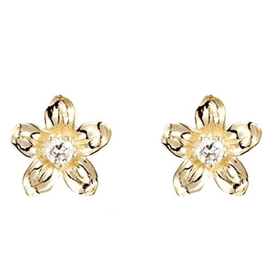 9ct yellow gold white cubic zirconia flower stud earring