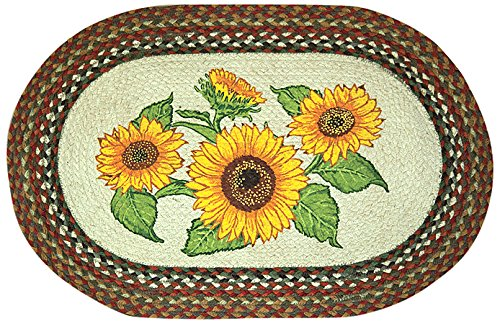 Earth Rugs 65-300S Sunflowers Oval Design Rug, 20 by 30