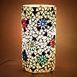 EarthenMetal Handcrafted Cylindrical Shaped White Coloured Mosaic Decorated Table Glass Lamp