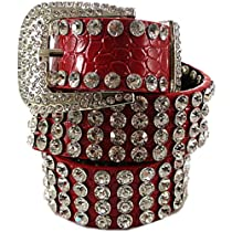 "Fabulous! Rhinestone Buckle Bling Diva Belt Red or Black (X-Large 40"", Red)"