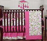 Sweet Jojo Designs Modern Pink and Lime Green Circles Baby Girl Bedding 9pc Crib Set