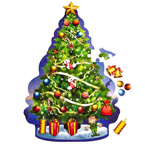 Educational Christmas Tree Floor Puzzle +29PC Ornaments KIt