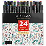 Arteza Fabric Markers, Unique 24 Colors, Permanent Dual-Tip Fabric Pens (Set of 24)