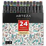 Arteza Fabric Markers, Unique 24 Colors, Permanent Dual-Tip Fabric Pens (Set of 24)