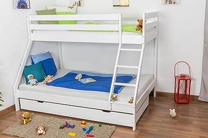 Lit superposé / lit de jeu LUKAS hêtre massif laqué en blanc avec échelle en biais, sommiere déroulable inclus