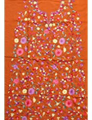 Exotic India Brown Salwar Kameez Fabric Kashmir With Floral Ari Embroide - Brown