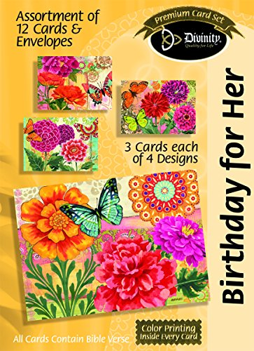 Divinity Boutique Greeting Card Assortment: Birthday for Her, Butterfly Blooms with Scripture (21709N) PDF