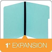 Globe-Weis Pressboard File Folders, 1-Inch Expansion, 1/3 Cut Tab, Letter Size, Blue, 25-Count (615 1-3 BLU)