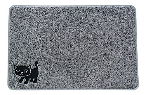 Smiling Paws Premium Cat Litter Mat – Superb Quality Cat Litter Catcher Mat With 9-TM Scatter Control – Extra Large – Soft Elegant Kitty Litter Mat in Light Gray Color To Suit Your Litter Box