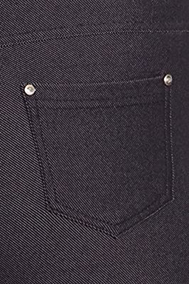 Women's Summer Cotton Spandex Pull On Capri Jeggings, Navy Blue, L