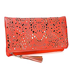 BMC Womens Lipstick Red Perforated Cut Out Pattern Gold Accent Background Foldover Pouch Fashion Clutch Handbag
