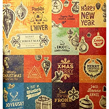 Retro Prints CHRISTMAS KRAFT WRAPPING PAPER (30 inches x 15 feet)