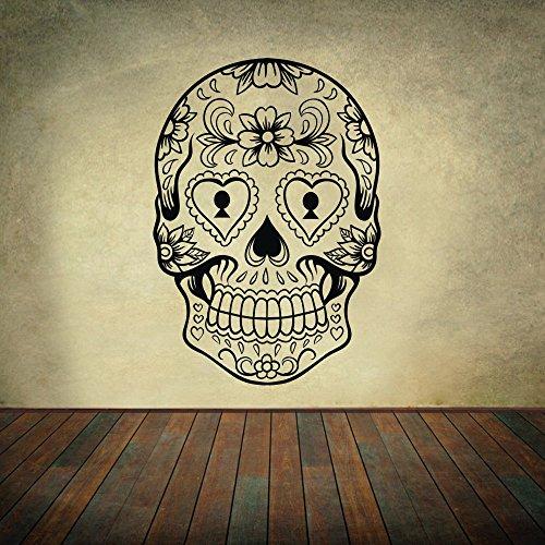 vinile-adesivo-da-parete-sugar-skull-teschio-messicano-adesivo-da-parete-decorazione-da-parete-paret