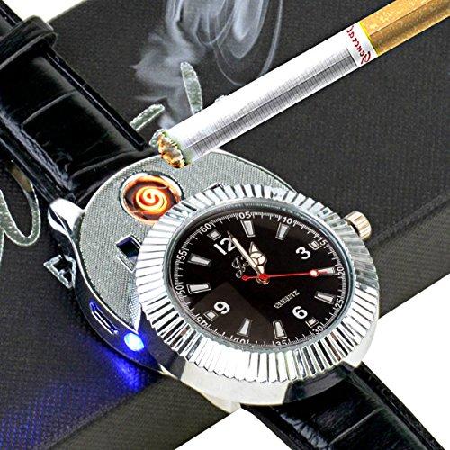 ckeyin-r-2-in-1-batteria-ricaricabile-orologio-da-polso-antivento-senza-fiamma-cigarette-lighter-fla