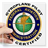 """CafePress - FAA Certified Gyroplane Pilot Sticker - Square Bumper Sticker Car Decal, 3""""x3"""" (Small) or 5""""x5"""" (Large)"""