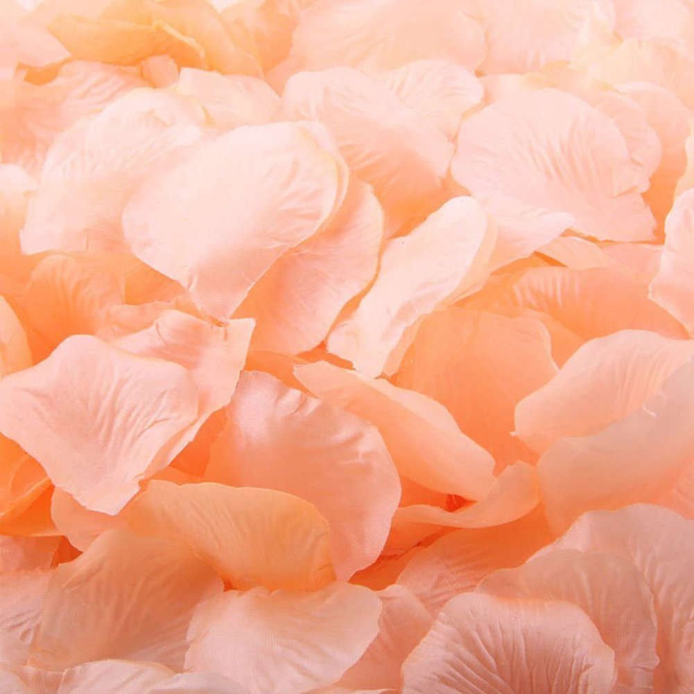 1000pcs Peach Artificial Silk Rose Flower Petals Wedding ...