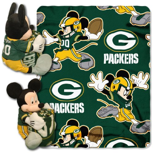 Nfl Green Bay Packers Mickey Mouse Pillow With Fleece Throw Blanket Set front-32731