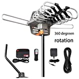 TV Antenna - Outdoor Amplified HDTV Antenna 150 Mile Motorized with Adjustable Antenna Mount Pole for 2 TVs Support - UHF/VHF 4K 1080P Channels Wireless Remote Control - 33FT Coax Cable (Color: Gray, Tamaño: XL-Large)
