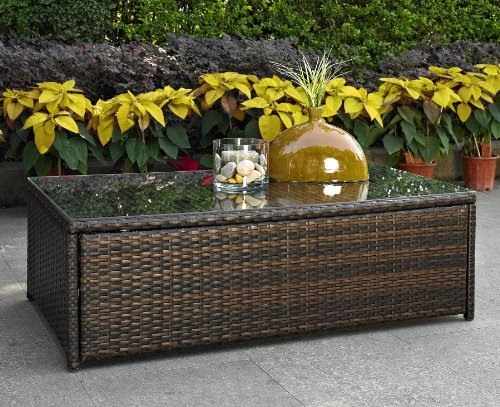 Crosley Furniture Palm Harbor Outdoor Wicker Glass Top