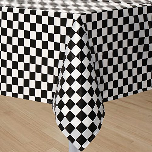 GIFTEXPRESS® Pack of 2, Black & White Checkered Flag Table Cover Party Favor/Checkered Tablecloth/Disposable Checkered Racing Table Cover (Black White Table compare prices)