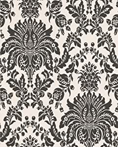 Graham and Brown 17153 Elizabeth Wallpaper, Black and White
