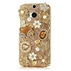 EVTECH(TM) Luxury 3D Handmade Fashion Crystal Rhinestone Bling Hard Case Cover Clear for New HTC One M8 HTC One 2014 Smartphone