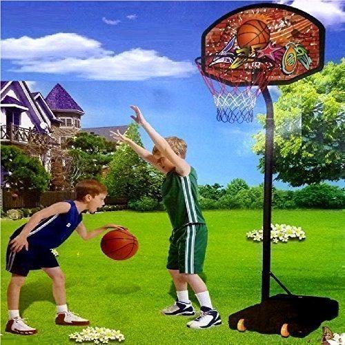Basketball Set Groß Verstellbarer Stand Ball Korb Netz Brett
