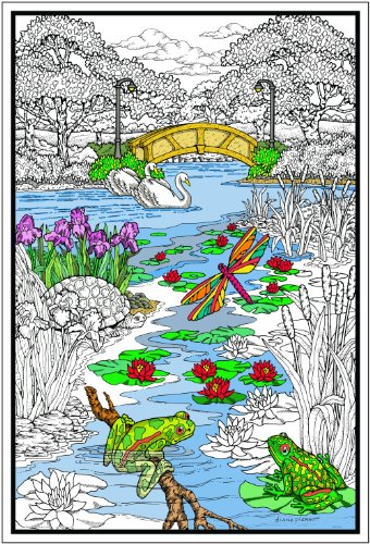 Pond in the Park - Giant 22 X 32.5 Inch Line Art Coloring Poster