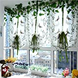 100x80cm Butterfly Flower Liftting Sheer Curtain Tulle Door Window Curtain Blind(White)