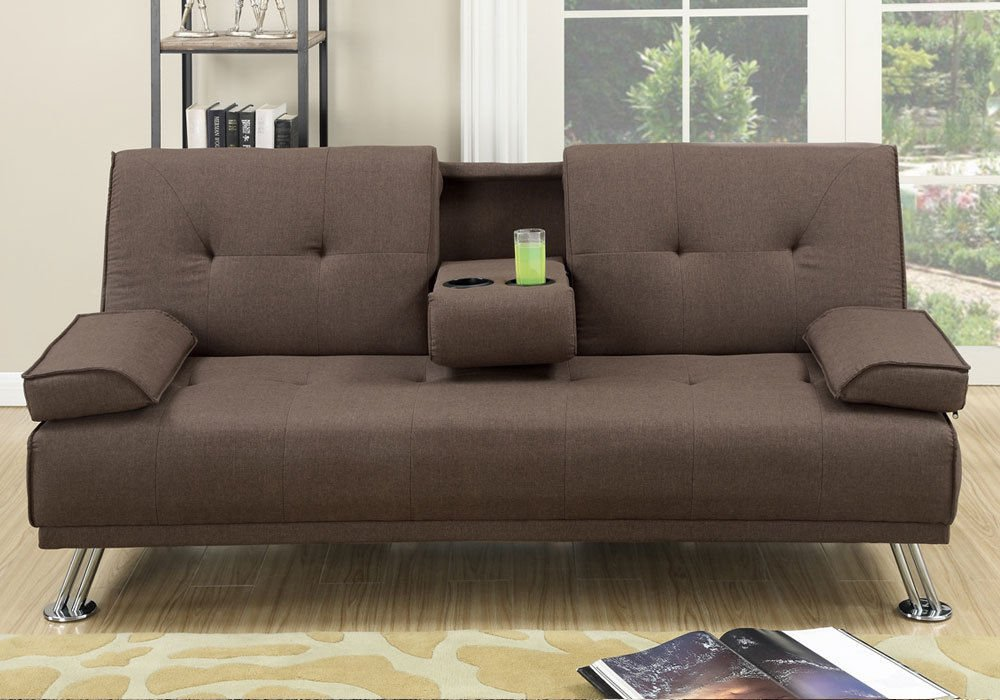 1PerfectChoiceModern Adjustable Sofa Bed Futon Brown Tufted Polyfiber Linen Fabric Console Cup
