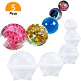 (Set of 5) DIY Sphere Round Silicone Mold for Resin Epoxy Jewelry Making Candle Wax Homemade Soap DIY Plastic Bath Bomb Mold -5 Different Size ice ball molds