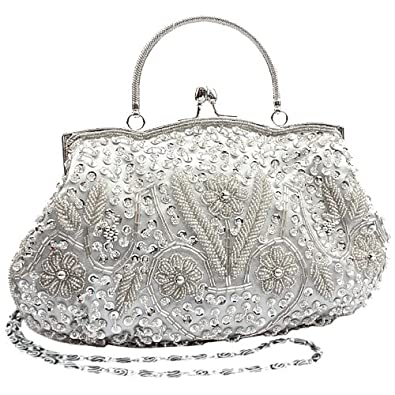 MG Collection Silver Antique Flower Sequin Beaded Soft Evening Clutch