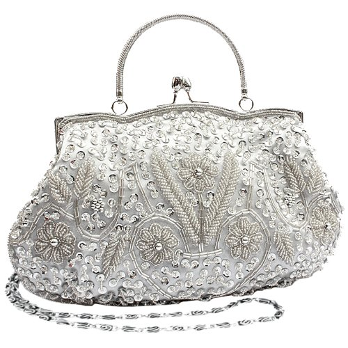 MG Collection Myra Beaded Evening Bag, Silver, One Size (Vintage Clutch compare prices)