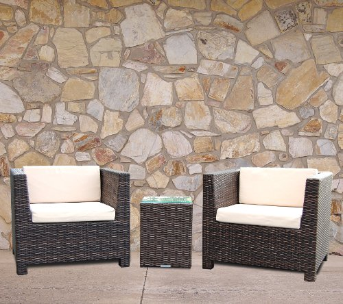 Tresco Brown Synthetic Rattan All Weather Outdoor Rattan Garden Furniture Balcony Set