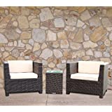 Tresco Brown Synthetic Rattan All Weather Outdoor Rattan Garden Furniture Balcony Setby Wovenhill