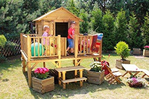 """Baumotte Spielhaus Holz – Kinderspielhaus """"Ernie"""" mit Rutsche Stelzenhaus kaufen"""