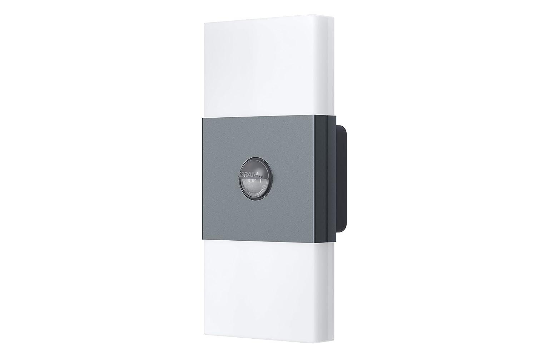 OSRAM Noxlite LED Wall Außenlampe mit Bewegungsmelder und Dämmerungssensor / Kühlkörper aus hochwertigem Aluminium / 2 x 6W, 6000K - kaltweiß, anthrazit