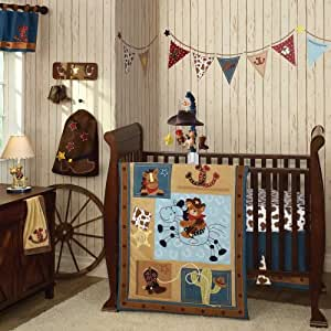 Giddy Up 6 Piece Baby Crib Bedding Set with Bumper plus FREE Sheet Saver by Lambs & Ivy