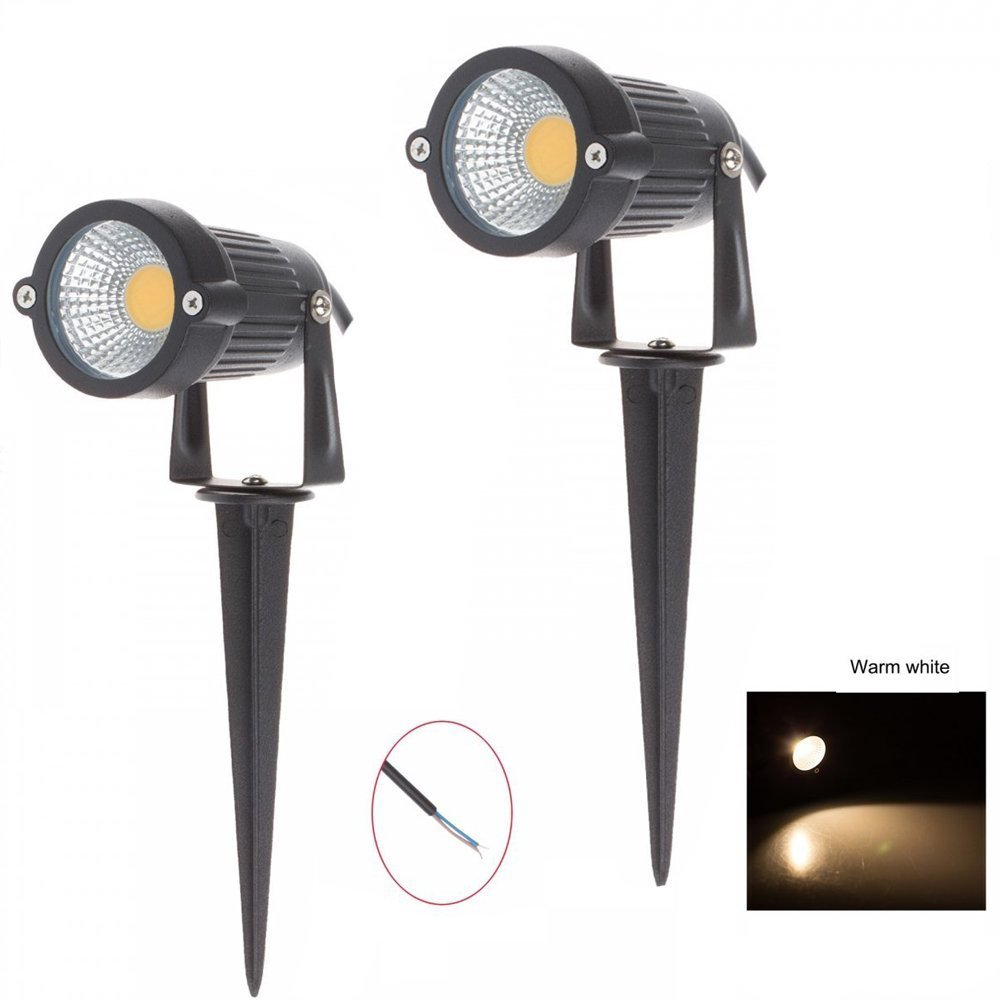 Lemonbest® High Power Outdoor Decorative Lamp Lighting 5W COB LED Landscape Garden Wall Yard Path Light Warm Cool White DC 12V w/ Spiked Stand, Pack of 2 (Warm white)
