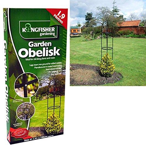 1 9 m schwarz pulverbeschichtetem metall garten obelisk freistehend kletterpflanzen. Black Bedroom Furniture Sets. Home Design Ideas