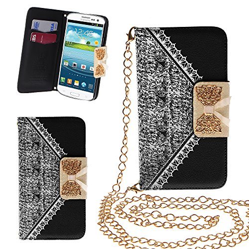 Xtra-Funky Exclusive Pu Leather Lace Pattern & Golden Bow Flip Case Cover Purse Handbag With Credit Card And Money Slots & Detable Golden Chain For Samsung Galaxy S3 (I9300) - Black